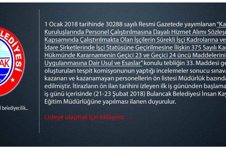 Bulancak Belediyesi Taşeron İşçi Kabul-Red Listesi açıklandı
